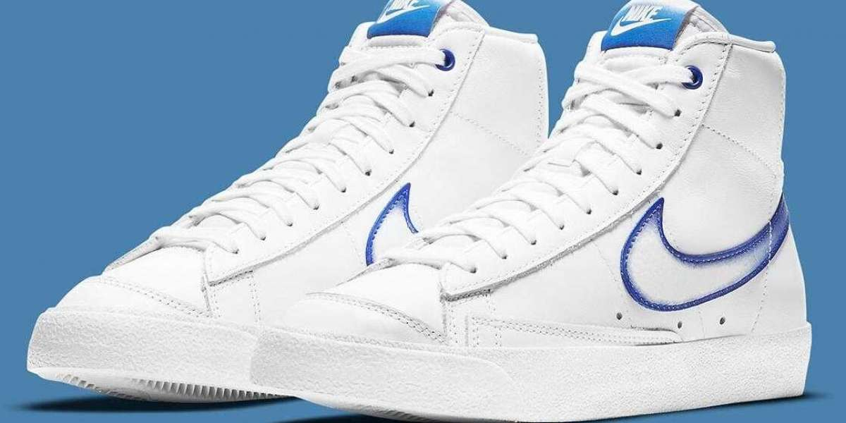 The Nike Blazer Mid '77 White Royal Get the Faded Spraypaint